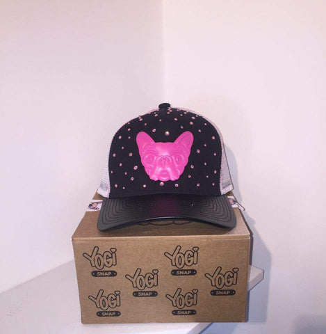 Yogi Snap Hat-Black/Pink With Pink Crystals SPECIAL EDITION
