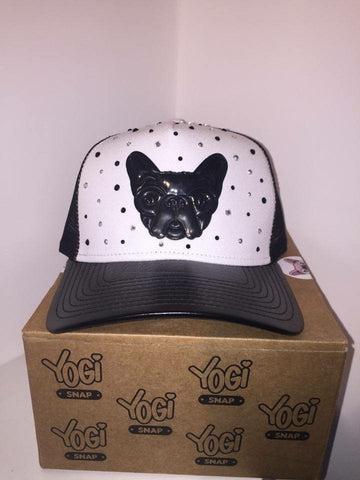 Yogi Snap Hat - Black/White With Silver/Black Crystals SPECIAL EDITION