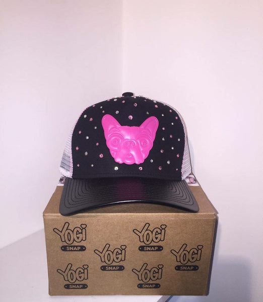 Yogi Snap Hat-Black/Pink With Pink/Silver Crystals SPECIAL EDITON