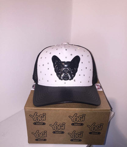Yogi Snap Hat - Black/White With Silver  Crystals SPECIAL EDITION