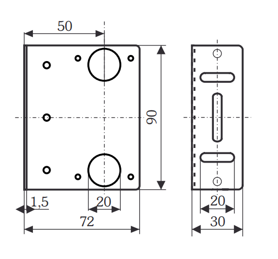 HW-LS Bracket Dimensions