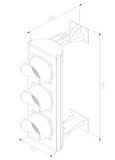 line drawing of 3 colour LED traffic light system for access control