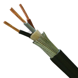 6943X Black 3 Core Steel Wire Armoured Cable 1.5mm (priced per metre)