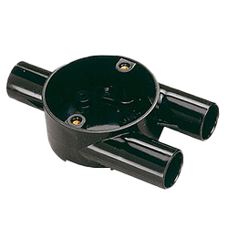 Black Circular Branch (Y) Conduit Box (3 Way) 20mm