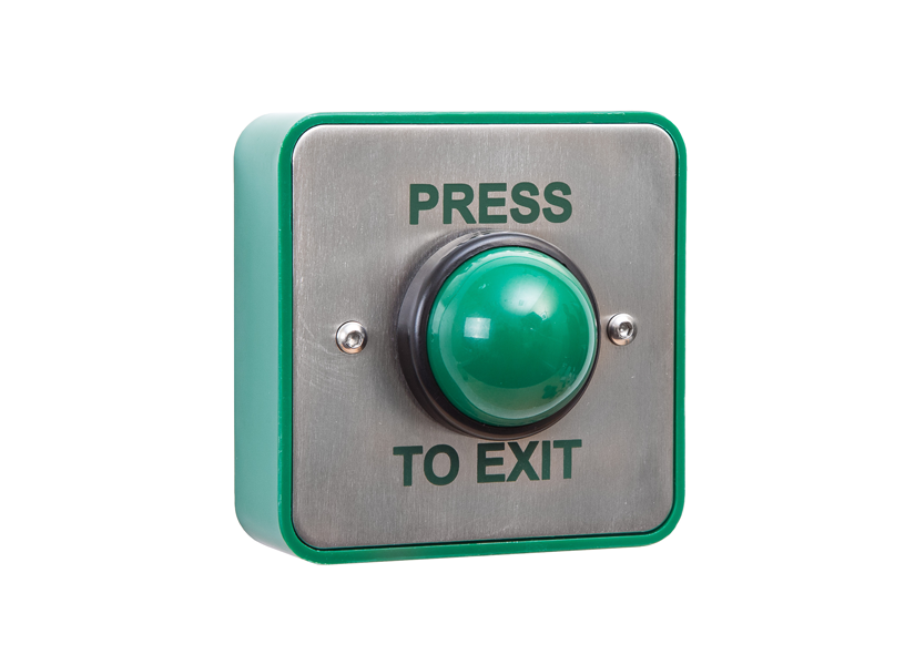 standard stainless green dome button Press to Exit