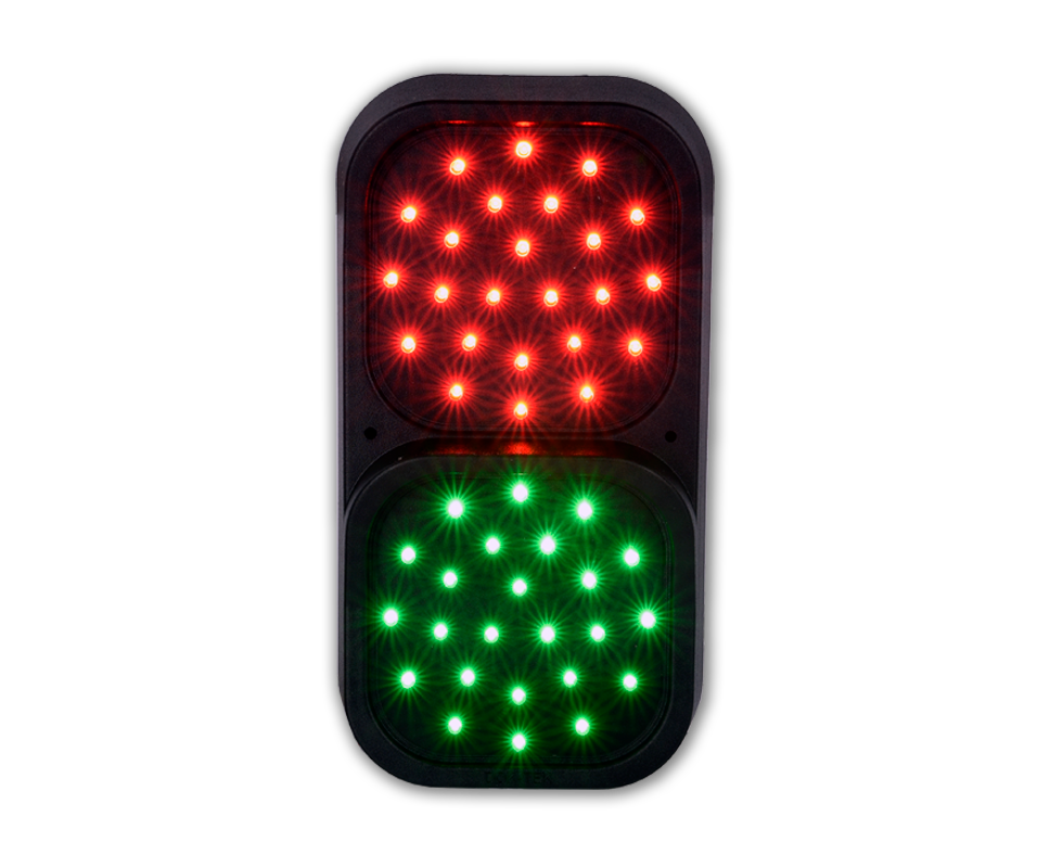 LED Traffic light with two 100mm diameter LED arrays w/ 4m cable tail