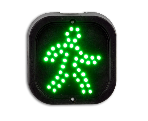 LED Traffic light with 100mm green man LED array w/ 4m cable tail