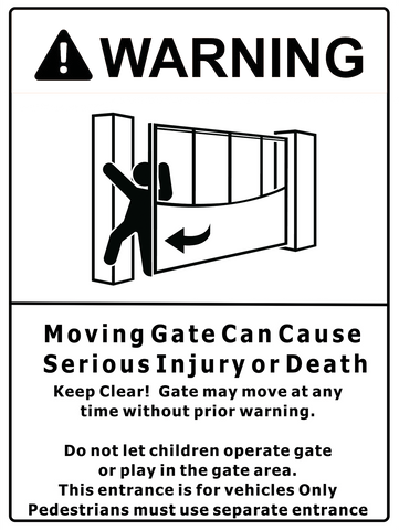 Warning Moving Gate Sign 150 x 200mm - customisable