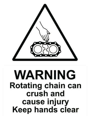Warning Rotating Chain Sign 150 x 200mm - customisable