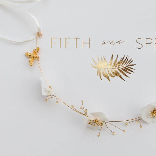 EMILY Pretty flower Alice Bridal Band - Fifth & Spring
