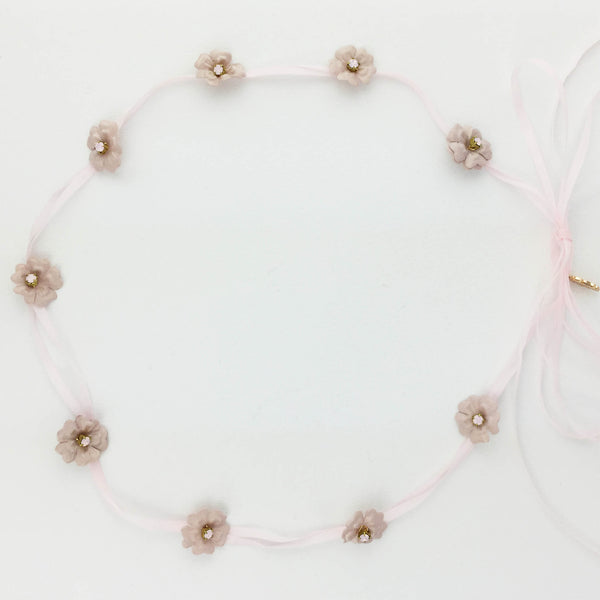 HEATHER Blush Tiny Flower Tie Halo - Fifth & Spring