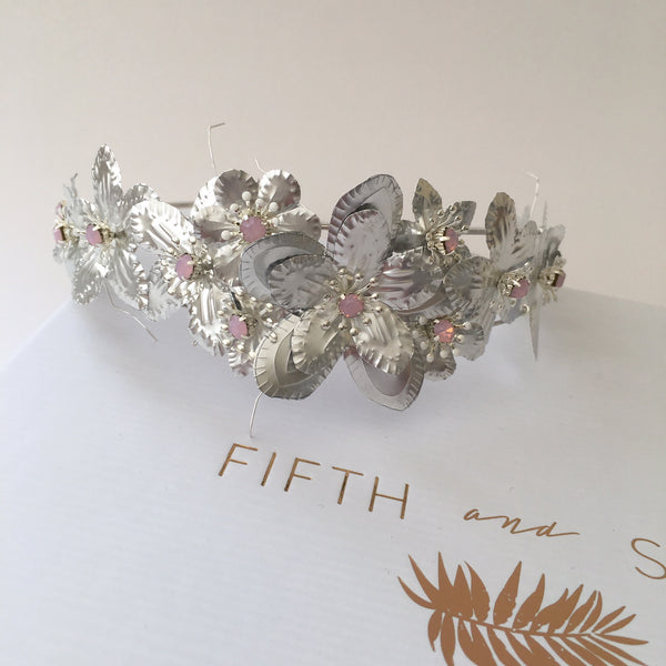 RUBY SILVER Flower Bridal Alice Band - Fifth & Spring