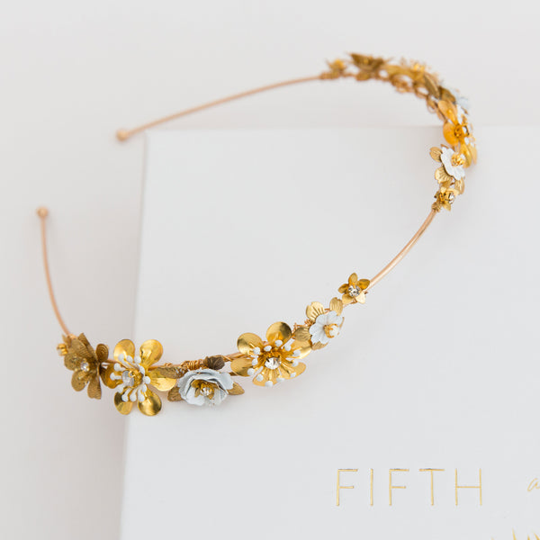 JENNA Delicate Spring Floral Bridal Band - Fifth & Spring