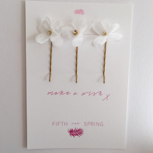 LUNA PINS Blossom Silk Flower Hair Pins - Fifth & Spring