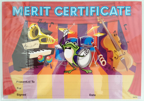 Music Merit Certificates - Quantity 31