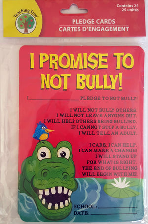 I Promise Not To Bully!  Pledge Cards x 25 Cards  *NEW