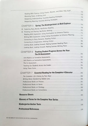 The Complete Year of Reading and Writing - Kindergarten - Contents