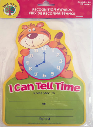 I Can Tell Time Certificates x 20 *NEW