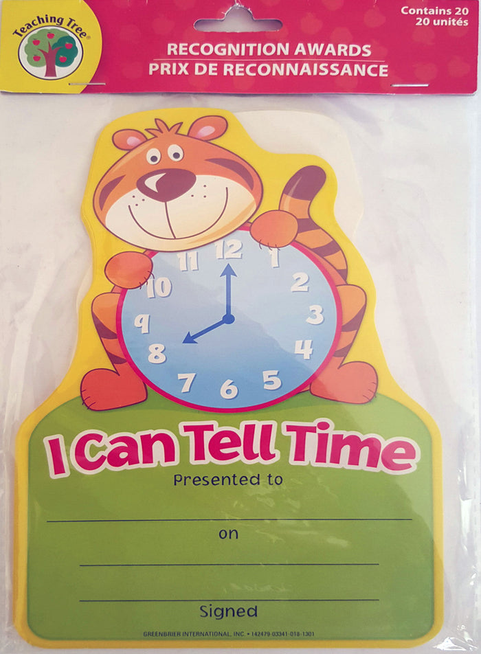 I Can Tell the Time Certificates - Quantity 20     *NEW