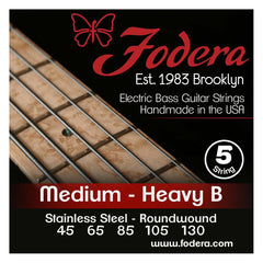 Fodera 5-String 45-130 Bass Strings, Stainless Steel
