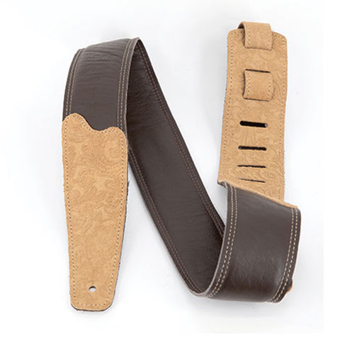 Martin Leather Embossed Guitar Strap, Brown