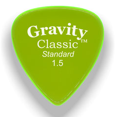 Gravity Picks Classic Standard Polished Pick, 1.5mm, Florescent Green