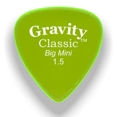 Gravity Picks Classic Big Mini Polished Pick, 1.5mm, Florescent Green