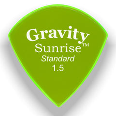 Gravity Picks Sunrise Standard Polished Pick, 1.5mm, Florescent Green