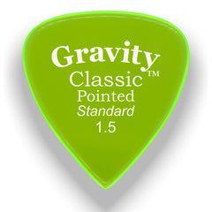 Gravity Picks Classic Pointed Standard Polished Pick, 1.5mm, Florescent Green