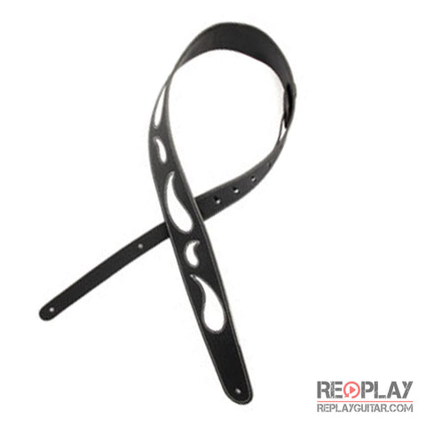 D'Addario Paisley Window Strap - Black w/ White