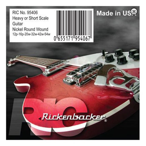 Rickenbacker 95406 Nickel Round Wound Heavy/Short Scale Electric Guitar Strings, 12p-54w