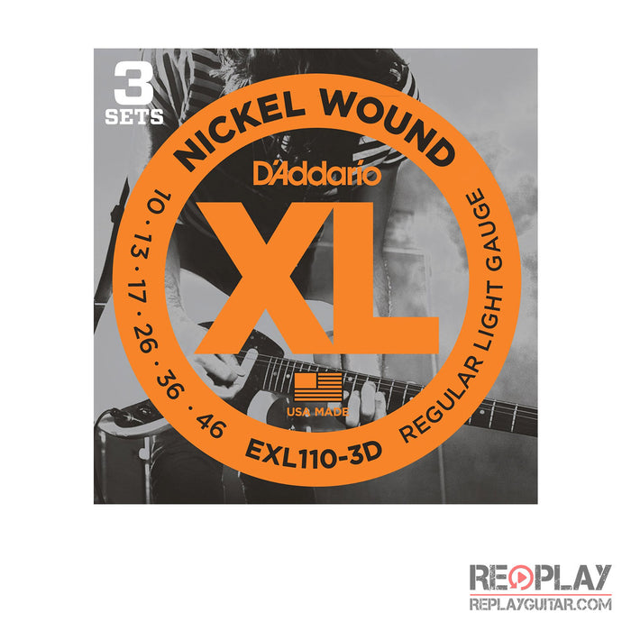 D'Addario EXL-110-3D Nickel Wound (Light) Electric 3-Pk