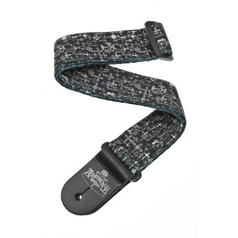 D'Addario Alchemy Guitar Strap, Gothic Crosses, front closeup