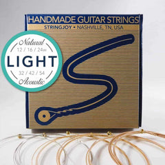 Stringjoy NB1254 Natural Bronze Acoustic Guitar Strings, (Light Gauge - 12-54)