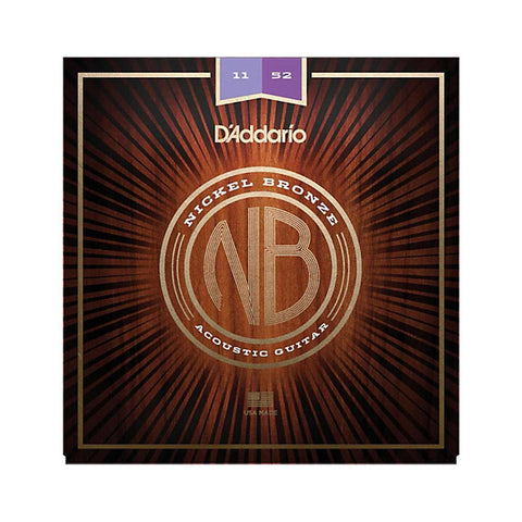 D'Addario NB1152 Nickel Bronze Acoustic Guitar Strings, Custom Light