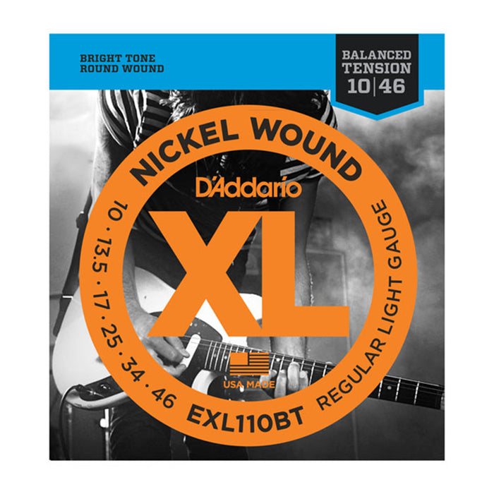 D'Addario EXL110BT Nickel Wound, Balanced Tension Regular Light Guitar Strings, 10-46 Gauge