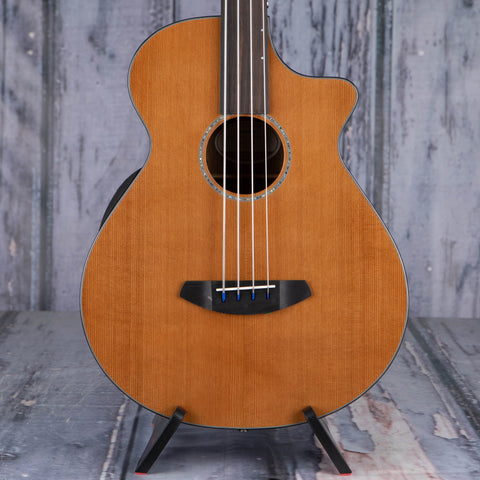 Breedlove Solo Jumbo Fretless Bass CE Acoustic/Electric Bass Guitar, Natural, front closeup