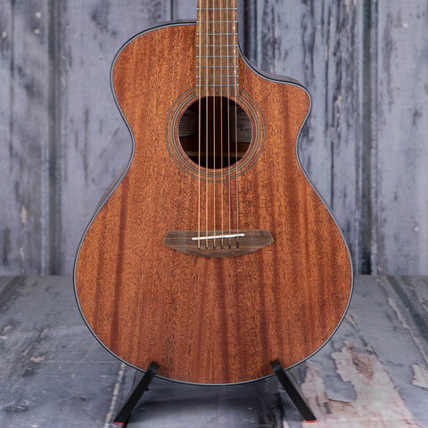 Breedlove Wildwood Concert Satin CE Acoustic/Electric Guitar, Mahogany Stain, front closeup