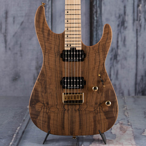 Charvel Pro-Mod DK24 HH HT M Mahogany With Figured Walnut Electric Guitar, Natural, front closeup