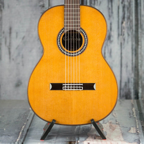 Cordoba C9 Cedar Top Classical Acoustic Guitar, Natural, front closeup