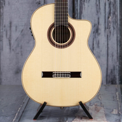 Cordoba GK Studio Limited European Spruce Top Classical Acoustic/Electric Guitar, Natural, front closeup
