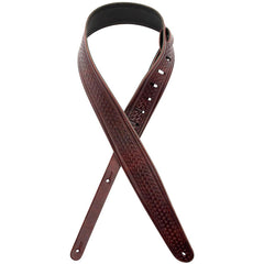 "D'Addario Planet Waves 2.5"" Embossed Weave Leather Guitar Strap, Brown"
