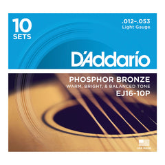 D'Addario EJ16 Phosphor Bronze Light - 10 set box