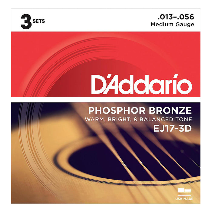D'Addario EJ17 Phosphor Bronze Medium - 3 set pack