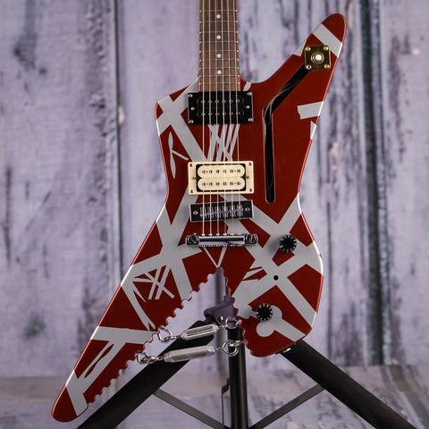 EVH Striped Series Shark Electric Guitar, Burgundy With Silver Stripes, front closeup