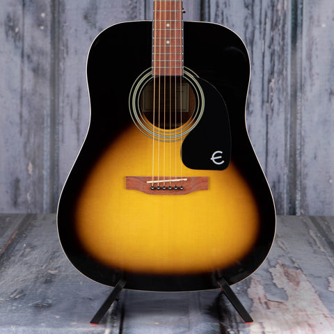 Epiphone DR-100 Dreadnought Acoustic Guitar, Vintage Sunburst, front closeup