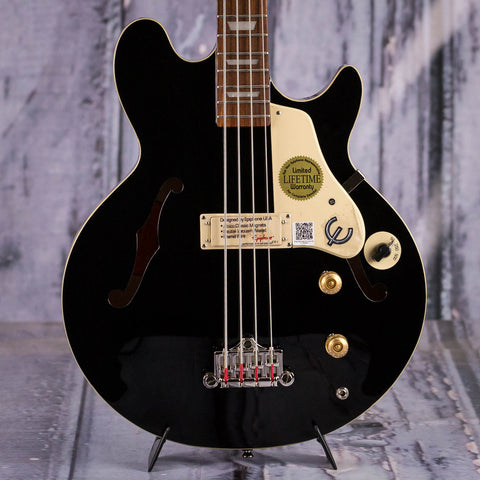 Epiphone Jack Casady Signature Semi-Hollowbody Electric Bass Guitar, Ebony, front closeup