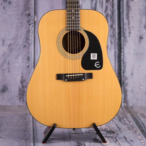 Epiphone PRO-1 Dreadnought Acoustic Guitar, Natural, front closeup