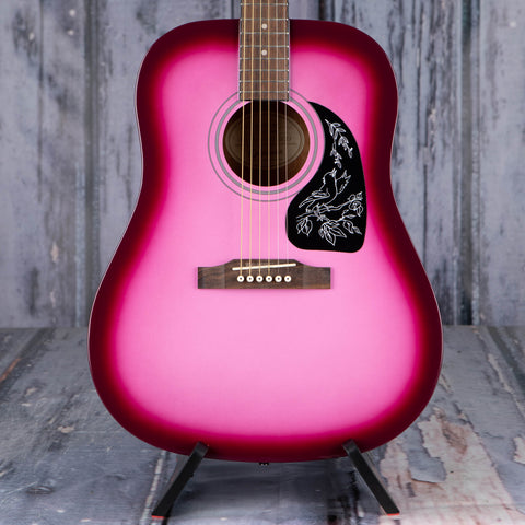 Epiphone Starling Acoustic Guitar, Hot Pink Pearl, front closeup