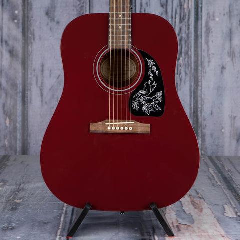 Epiphone Starling Acoustic Guitar, Wine Red, front closeup